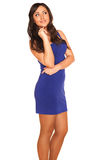 Girl in blue dress. On white background Royalty Free Stock Photo