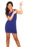 Girl in blue dress. On white background Royalty Free Stock Photos