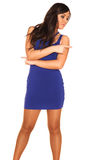 Girl in blue dress. On white background Stock Photos