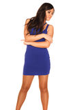 Girl in blue dress. On white background Royalty Free Stock Photography