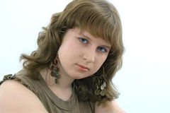 The girl with blue eyes. On a white background Royalty Free Stock Photo
