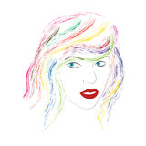 Girl blue eyes red lips colorful hair paint brush effect Stock Images
