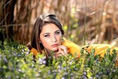 Girl, Blue Eyes, Seductive, Flowers Stock Photo