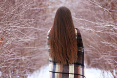 Girl with blue eyes wrapped in a blanket in the winter Stock Photos