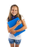 Girl with blue folder Royalty Free Stock Images