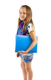 Girl with blue folder Stock Images