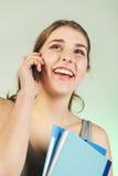 Girl with blue folders Stock Photos