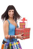 Girl in blue with group gift box Royalty Free Stock Photo