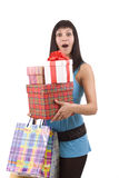 Girl in blue with group gift box Royalty Free Stock Photos