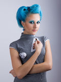 Girl with blue hair Stock Photography