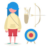 A girl with blue hair and accessories for archery Stock Image