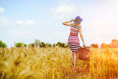 Girl in blue hat walking away in golden sunlight Royalty Free Stock Image