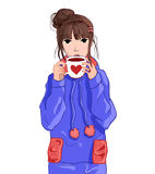 Girl in blue hoodie drinking tea or coffee. VECTOR illustration Royalty Free Stock Images
