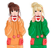 Girl in blue hoodie drinking tea or coffee. VECTOR illustration Stock Images