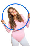 Girl and blue hoop Royalty Free Stock Photos