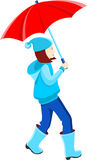 Girl in a blue jacket under a red umbrella Stock Photography