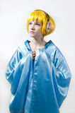 Girl in blue kimono Stock Photo