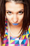 Girl with blue lips Royalty Free Stock Image