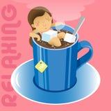 Girl in blue mug of hot tea Royalty Free Stock Photos
