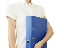Girl with blue office folder in hand Royalty Free Stock Photo