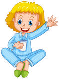Girl in blue pajamas drinking milk. Illustration Royalty Free Stock Photo