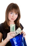 Girl with blue paper bag Stock Photos