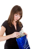 Girl with blue paper bag Royalty Free Stock Photos