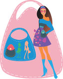 Girl with a bag Stock Images