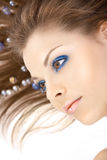 The girl in blue registration Royalty Free Stock Images