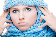 Girl in a blue scarf Royalty Free Stock Photography
