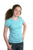 Girl Blue Shirt Headphones Royalty Free Stock Photo