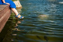 Girl blue shoes sitting lake harmony rest fish. Water celebrate Royalty Free Stock Images
