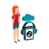 Girl blue short cloud streaming music. Vector illustration eps 10 stock illustration
