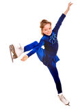 Girl in blue sport dress on skates. Royalty Free Stock Photography