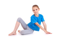 Girl in blue sport's wear Stock Photography