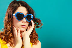 Girl in blue sunglasses portrait Royalty Free Stock Photo