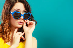 Girl in blue sunglasses portrait Stock Photography