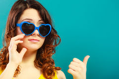 Girl in blue sunglasses portrait Royalty Free Stock Images