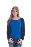 Girl in a blue t-shirt and jeans Royalty Free Stock Image