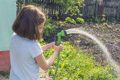Girl watering a garden from a hose stock images