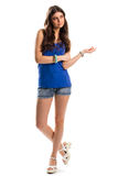 Girl in blue tank top. Stock Photos