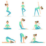 Girl In Blue Training Clothes Demonstrating Yoga Asana Stock Photo