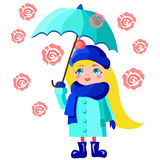 Girl with blue umbrella. Blond girl with blue umbrella in the rain of roses Royalty Free Stock Photo