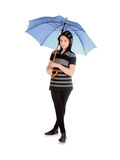 Girl with blue umbrella isolated over white Royalty Free Stock Images