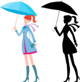 Girl with the blue umbrella. Vector drawing of the young girl under an umbrella Royalty Free Stock Images