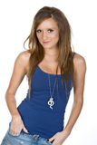 Girl in Blue Vest against White Background Royalty Free Stock Photography