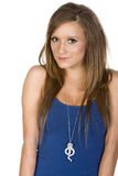 Girl in Blue Vest against White Background Stock Image