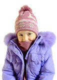 The girl in a blue warm jacket Royalty Free Stock Image