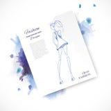 Girl-blue-watercolor-paper. Vector fashion model. Vector sketch silhouette. Vector vintage lady. Dress pencil sketch. Vector fashion outline. Vector style lady Vector Illustration