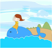 Girl and blue whale. Girl play with blue whale Royalty Free Stock Photography